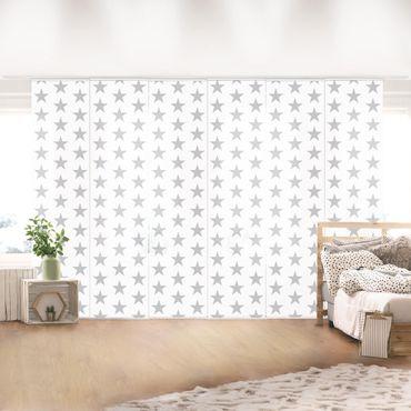 Schiebegardinen Set - Graue Sterne auf Weiß - Flächenvorhänge