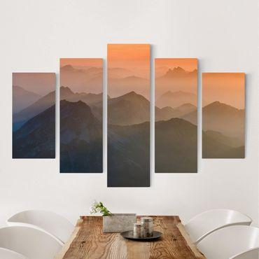 Leinwandbild 5-teilig - Blick von der Zugspitze
