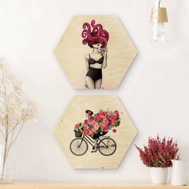 Hexagon Bild Holz 2-teilig - Laura Graves - Frauen Zeichnungen - Floraler Ozean