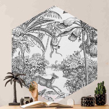 Hexagon Mustertapete selbstklebend - Detaillierte Dschungelzeichnung