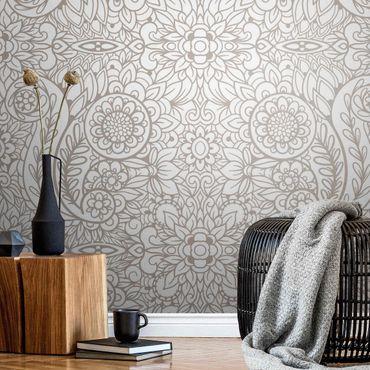 Metallic Tapete  - Detailliertes Jugendstilmuster in Graubeige