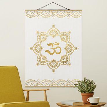 Stoffbild mit Posterleisten - Mandala OM Illustration Ornament weiß gold - Hochformat 3:4