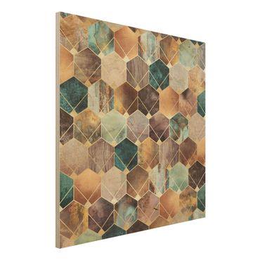Holzbild - Türkise Geometrie goldenes Art Deco - Quadrat 1:1