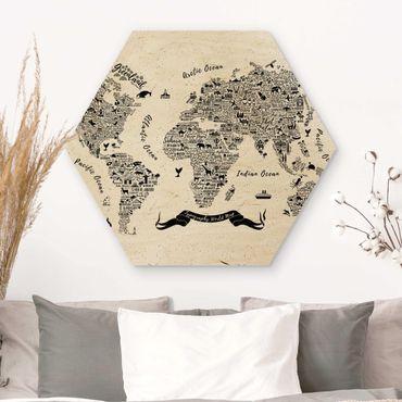 Hexagon Bild Holz - Typografie Weltkarte weiß