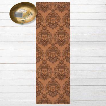 Vinyl-Teppich - Buddha Blüte auf Korkoptik - Panorama Hoch 1:3