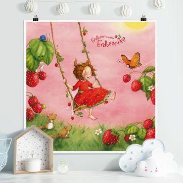 Poster - Erdbeerinchen Erdbeerfee - Baumschaukel - Quadrat 1:1