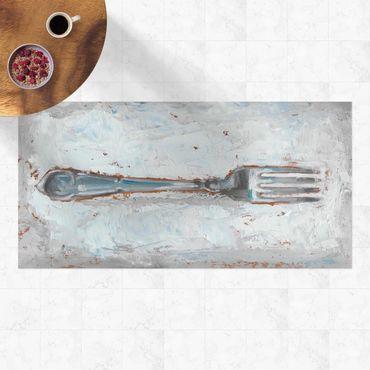 Vinyl-Teppich - Impressionistisches Besteck - Gabel - Querformat 2:1