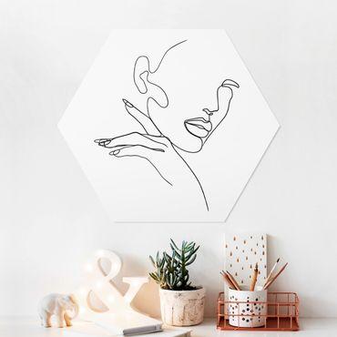 Hexagon Bild Forex - Line Art Frau Portrait Schwarz Weiß