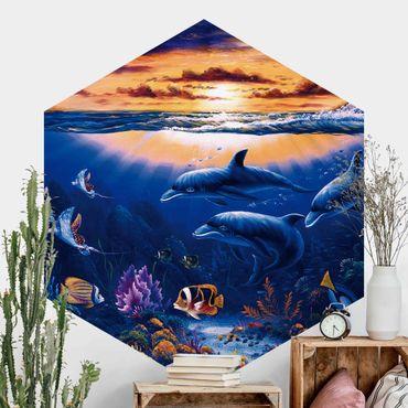 Hexagon Mustertapete selbstklebend - Dolphins World