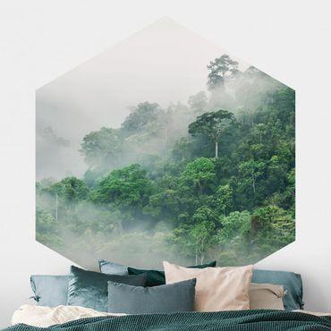 Hexagon Mustertapete selbstklebend - Dschungel im Nebel