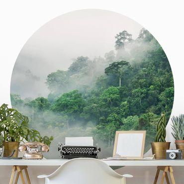 Runde Tapete selbstklebend - Dschungel im Nebel