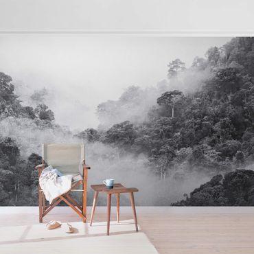 Metallic Tapete  - Dschungel im Nebel Schwarz-Weiß