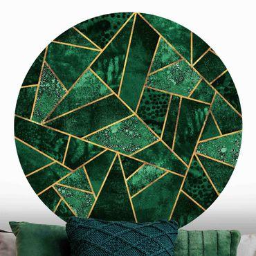 Runde Tapete selbstklebend - Dunkler Smaragd mit Gold