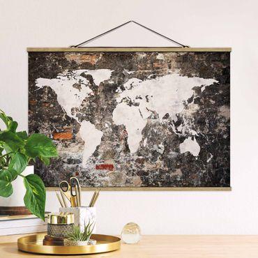Stoffbild mit Posterleisten - Alte Mauer Weltkarte - Querformat 2:3