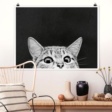 Poster - Illustration Katze Schwarz Weiß Zeichnung - Querformat 3:4
