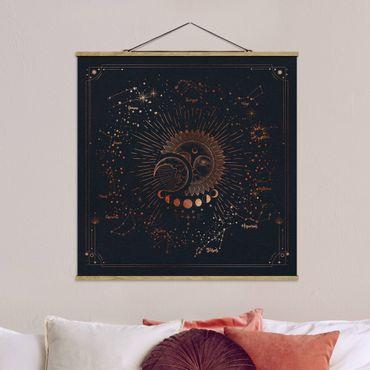 Stoffbild mit Posterleisten - Astrologie Sonne Mond und Sterne Blau Gold - Quadrat 1:1