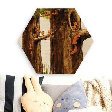 Hexagon Bild Holz - Zuhause der Einhörnchen