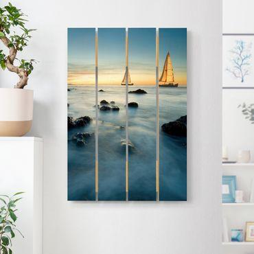 Holzbild - Segelschiffe im Ozean - Hochformat 3:2