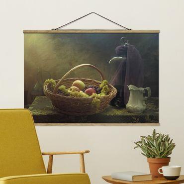 Stoffbild mit Posterleisten - Stillleben mit Obstkorb - Querformat 2:3