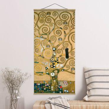 Stoffbild mit Posterleisten - Gustav Klimt - Der Lebensbaum - Hochformat 2:1