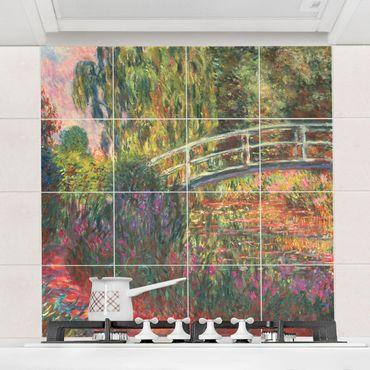 Fliesenbild - Claude Monet - Japanische Brücke im Garten von Giverny - Fliesensticker Set quadratisch