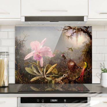 Spritzschutz Glas - Martin Johnson Heade - Orchidee und drei Kolibris - Querformat 3:4