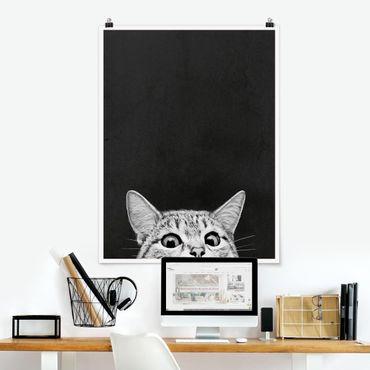 Poster - Illustration Katze Schwarz Weiß Zeichnung - Hochformat 4:3