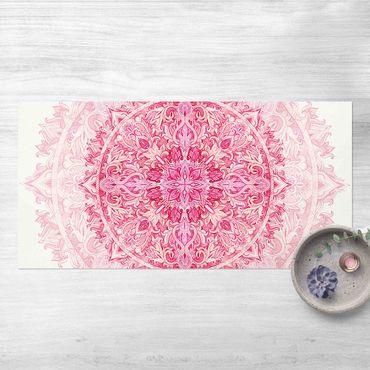 Vinyl-Teppich - Mandala Aquarell Ornament pink - Querformat 2:1