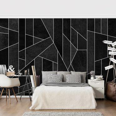 Fototapete - Schwarz Weiß Geometrie Aquarell - Fototapete Quadrat
