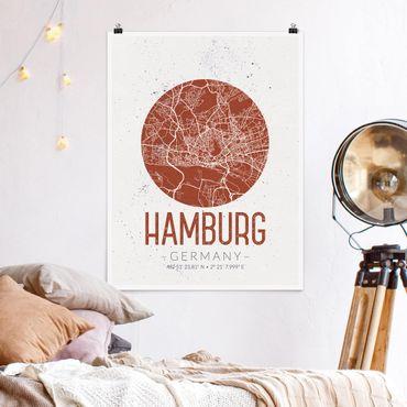 Poster - Stadtplan Hamburg - Retro - Hochformat 3:4