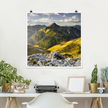 Poster - Berge und Tal der Lechtaler Alpen in Tirol - Quadrat 1:1