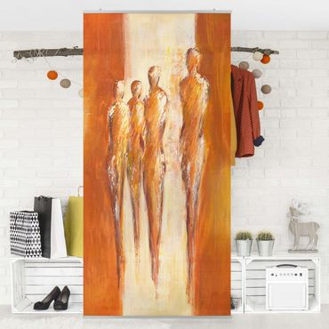 Raumteiler - Petra Schüßler - Vier Figuren in Orange 02 250x120cm