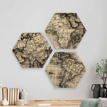 Hexagon Bild Holz 3-teilig - Alte Weltkarte Details