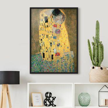 Bild mit Rahmen - Gustav Klimt - Der Kuß - Hochformat 3:4