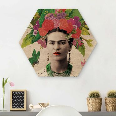 Hexagon Bild Holz - Frida Kahlo - Blumenportrait