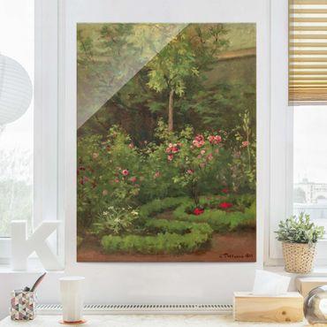 Glasbild - Camille Pissarro - Ein Rosengarten - Hochformat 4:3