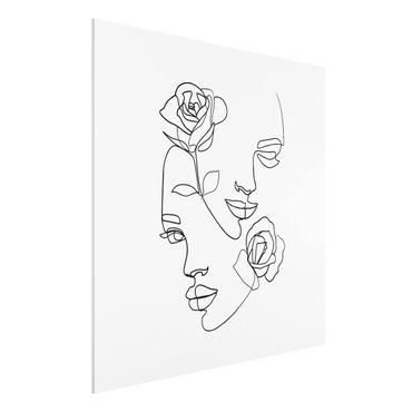Forex Fine Art Print - Line Art Gesichter Frauen Rosen Schwarz Weiß - Quadrat 1:1