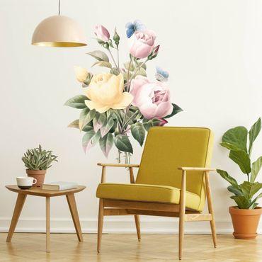 Wandtattoo - Vintage Illustration Rosen Bouquet und Schmetterling XXL