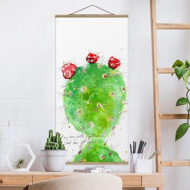 Stoffbild mit Posterleisten - Kaktus mit Bibelvers IV - Hochformat 2:1