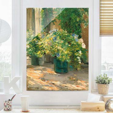 Glasbild - Max Liebermann - Blumentöpfe vor dem Haus - Hochformat 4:3