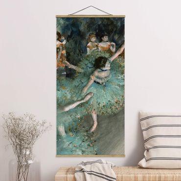 Stoffbild mit Posterleisten - Edgar Degas - Tänzerinnen in Grün - Hochformat 1:2