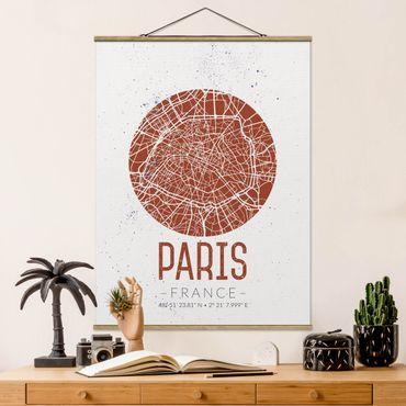 Stoffbild mit Posterleisten - Stadtplan Paris - Retro - Hochformat 4:3