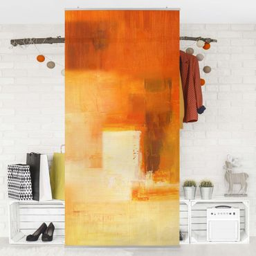 Raumteiler - Petra Schüßler - Komposition in Orange und Braun 03 250x120cm