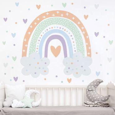 Wandtattoo - Regenbogen mit Wolken Pastell