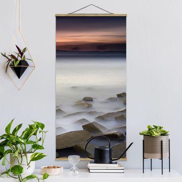 Stoffbild mit Posterleisten - Sonnenuntergang im Nebel - Hochformat 2:1