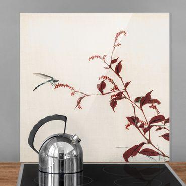 Spritzschutz Glas - Asiatische Vintage Zeichnung Roter Zweig mit Libelle - Quadrat 1:1