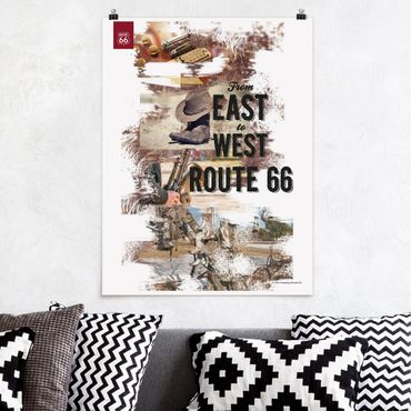 Poster - Route 66 - Collage East to West - Hochformat 3:4