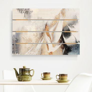 Holzbild - Elisabeth Fredriksson - Goldene abstrakte Wintermalerei - Querformat 2:3