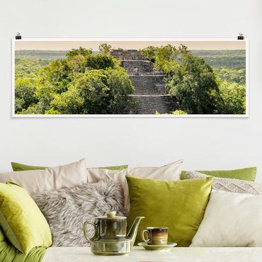 Poster - Pyramide von Calakmul - Panorama Querformat