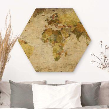 Hexagon Bild Holz - Weltkarte